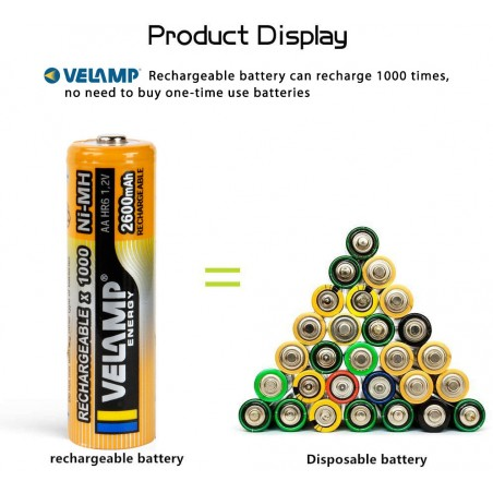 1000 mAh Ni-MH 1,5V AAA rechargeable batteries. Blister of 4 pieces HR03-1000/4BP Velamp Rechargeable