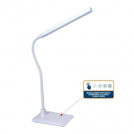 SLIM: Lampe de bureau LED 510 lumen,6W, interrupteur tactile, blanc TL1606B.004S Lampes de bureau Velamp