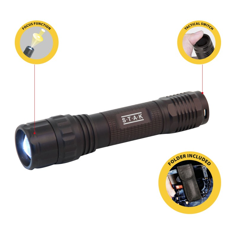 Panther wiederaufladbare taschenlampe mit 10 w cree led und zoom
