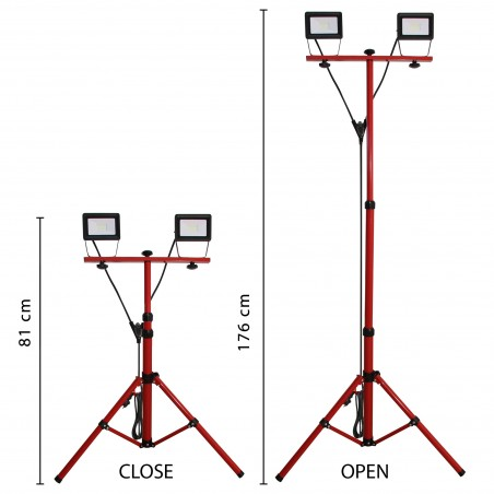 TWIN HEAD: 2x20W work light with tripod and 3m cable IS747-3 Velamp Worklights on tripod