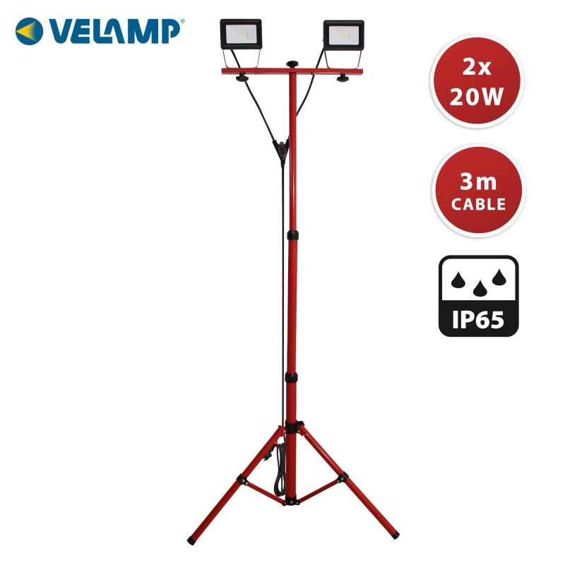 TWIN HEAD : Arbeitsleuchte 2x20W mit Stativ und Kabel 3 m H05RN-F 3G1.0mm3 IS747-3 Strahler auf Stativen Velamp