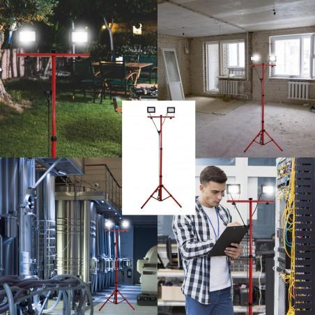 TWIN HEAD: Proyector 2x20W con trípode y cable de 3 mt H05RN-F 3G1.0mm3 IS747-3 Velamp Proyectores sobre trípodes