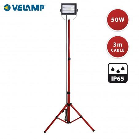 WAINGRO: projecteur LED 50W, IP65, noir. Trépied, grille et câble 3m IS746-50W Projecteurs sur trépieds Velamp