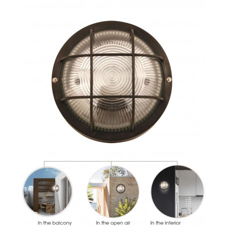 BUBBLE: Applique tonda in plastica + vetro E27 max 60W - Nero BUBBLE-N Plafoniere tonde Velamp
