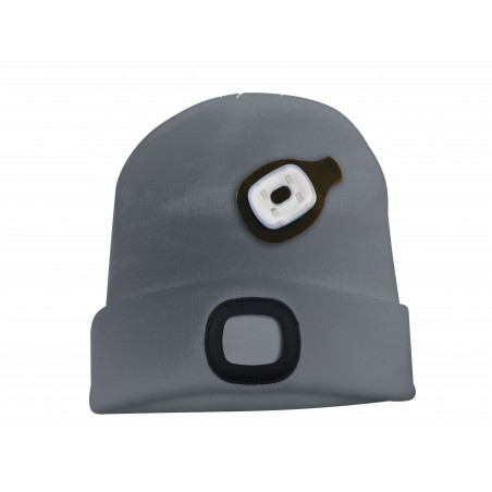 LIGHTHOUSE: Beanie with rechargeable LED headlamp. Dark grey CAP02 Velamp LED flashlights