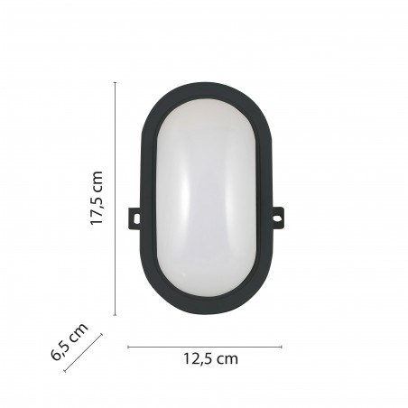 TARTARUGA: Hublot ovale à LED intégrés 5.5W noir. IP54 TARTARUGA-N Appliques ovales Velamp