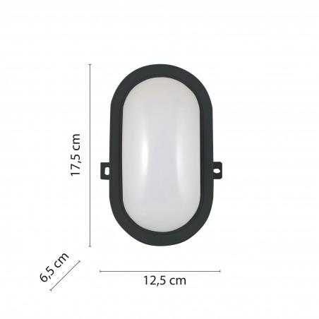 TARTARUGA: oval LED bulkhead. black. 5W. IP64 TARTARUGA-N Velamp Bulkheads