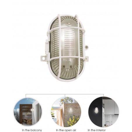 Applique ovale in plastica + vetro attacco e27 max 60w bianco TURTLE-B Applique ovali Velamp