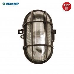 TURTLE: Ovale Wandleuchte Glas / Plastik. E27 max 60W - Schwarz   TURTLE-N Ovale Deckenleuchten Velamp