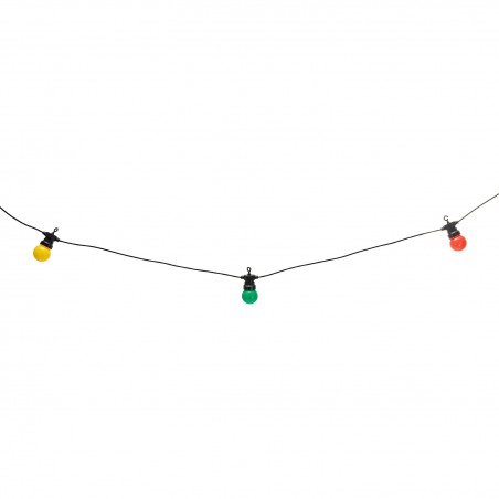 COLOUR: Guirlande IP44 prolongeable, 15m, 20 ampoules LED colorées, noir PS066 Guirlandes lumineuses Velamp