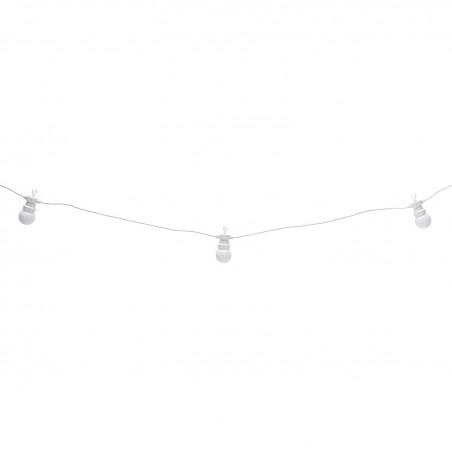 CLASSY: IP44 extendable light chain, 15m, 20 x G50 3000K white bulbs, white PS067 Velamp Extendable light chain