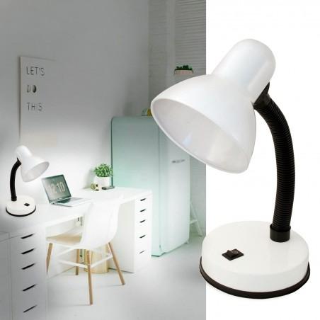 Lampada da tavolo con attacco e27 charleston bianco TL1201-B Lampade da scrivania Velamp