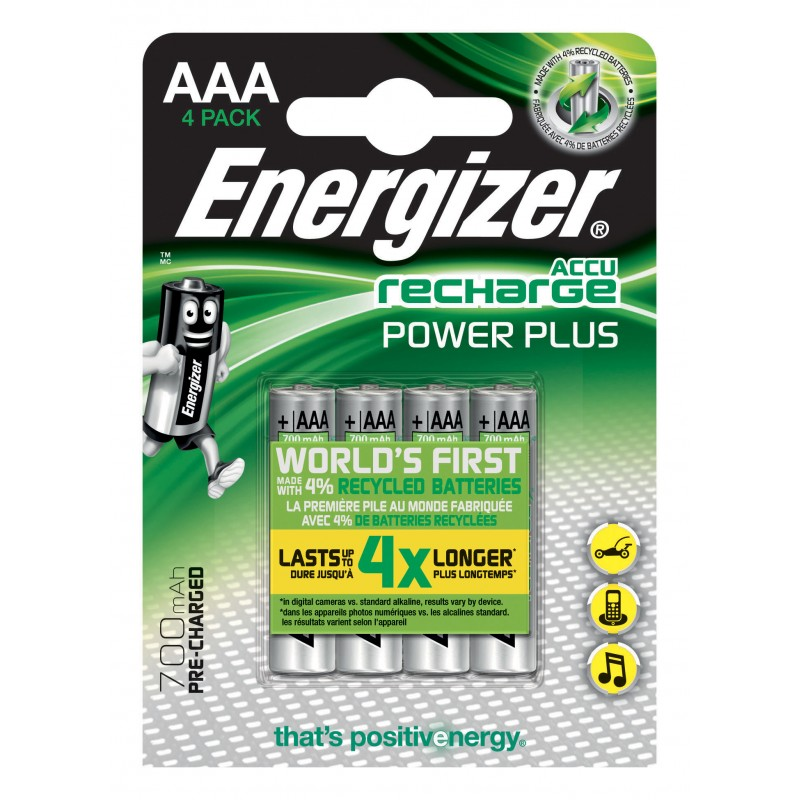 Blister ENERGIZER de 4 baterías recargables POWER PLUS HR03 NHR03X4 Velamp Pile Energizer