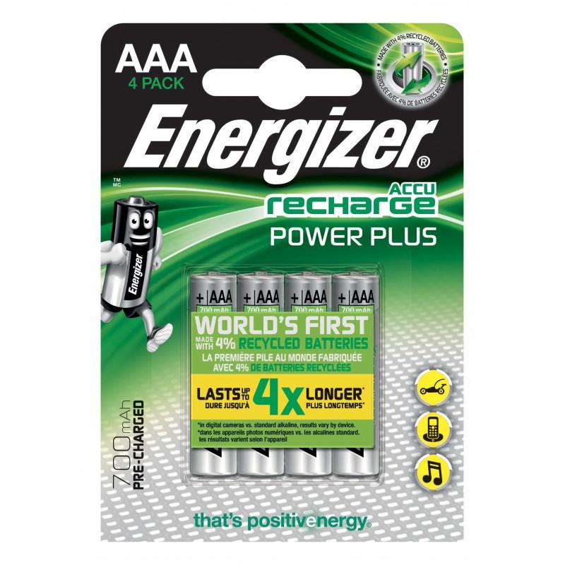 ENERGIZER blister di 4 batterie ricaricabili POWER PLUS HR03 NHR03X4 Pile Energizer Velamp