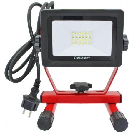 LIGHT PAD: Luz de obras LED SMD 20W IP65, color negro 6500K con cable de 1,5mt IS750-3 Velamp Proyectores con soporte en H