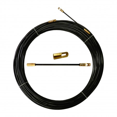 Nylon cable pulling probe, black, Ø 4 mm, 20 meters, with interchangeable terminals SYN4-020 Stak Fishtapes for civil use