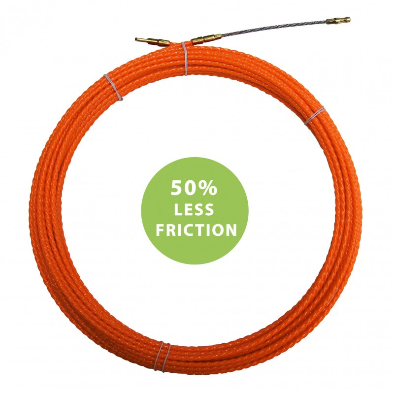 Helical cable pulling probe, orange, Ø 4 mm, 30 meters, with interchangeable terminals STOR4-030 Stak Fishtapes for civil use