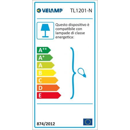 CHARLESTON: Lámpara de mesa color negro , casquillo E27 TL1201-N Velamp Lámparas de escritorio