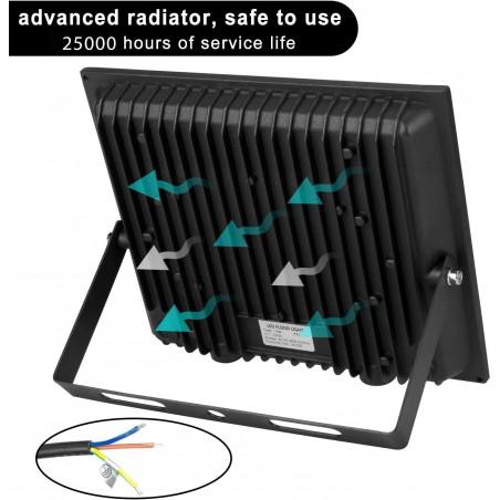 PADLIGHT5, 20W IP44 SMD LED floodlight, black 4000K. With IR IS748-5-4000K Velamp LED outdoor floodlights