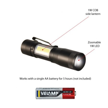 THOR : Lampe torche + lanterne LED. Avec zoom D89 Torches LED Velamp