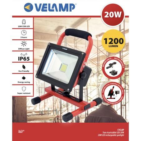 CYCLOP: Akku-Baustrahler LED COB 20W IR867 Wiederaufladbare Arbeitsleuchten Velamp