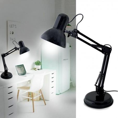Lampada da tavolo architetto attacco e27 charleston nero TL1207-N Lampade da scrivania Velamp