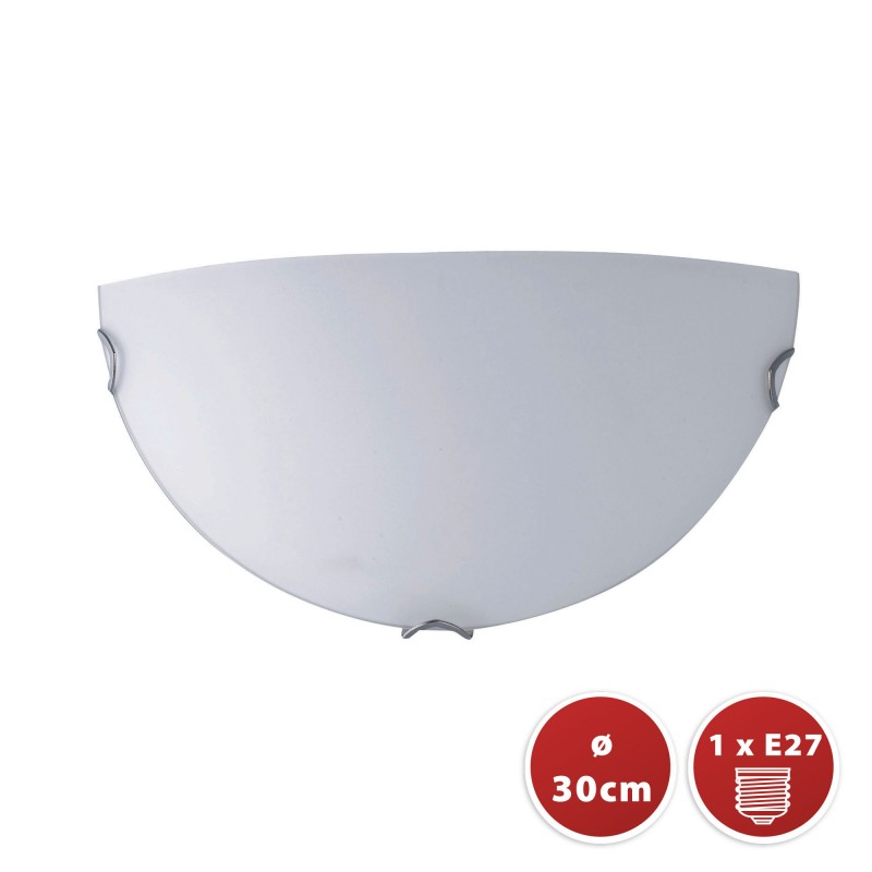 SAPHIR: half-moon frosted glass ceiling light, 30cm diameter, E27 PT313 Velamp E27 glass ceiling lamps