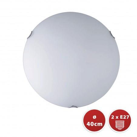 Plafoniera in vetro satinato diametro 40cm 2xe27 saphir PT343 Plafoniere e27 in vetro Velamp