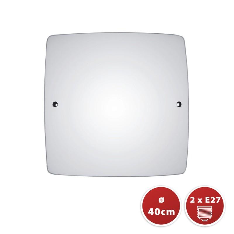 SAPHIR: Plafón de techo cuadrado con difusor de vidrio esmerilado, 40x40cm, E27 PT373 Velamp Plafones de cristal E27