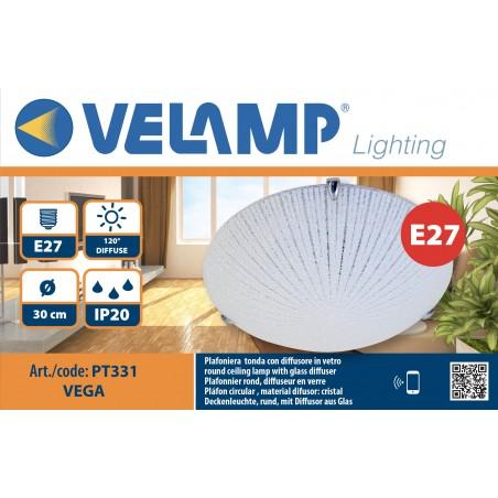 VEGA: Plafoniera in vetro, diametro 30cm, 1xE27 PT331 Plafoniere E27 in vetro Velamp