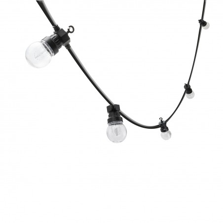 "RETRO: Catenaria IP44 prolungabile, 15 metri, 20 bulbi LED ""filament"", nero PS068 Catenarie luminose Velamp"