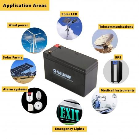 Batería recargable de plomo acido 12V 12Ah conector FASTON 23731 Velamp Baterías de plomo-ácido recargables de 12V