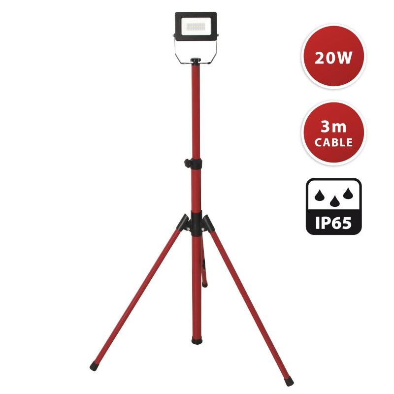 LIGHT PAD 2: proiettore LED SMD 20W, IP65, nero, 6500K con treppiede e cavo 3mt IS749-2 Proiettori su treppiedi Velamp