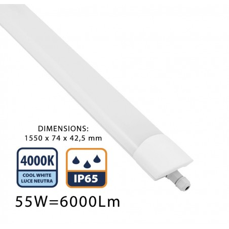 STARLED: IP65 waterproof LED batten. 150 CM, 6000LM STARLED258 Velamp Waterproof fittings