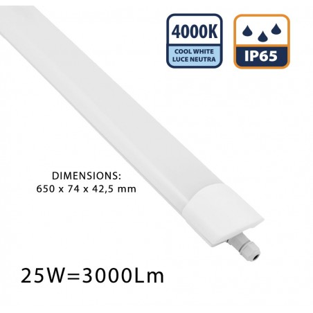 STARLED: IP65 waterproof LED batten. 60 CM, 3000LM STARLED218 Velamp Waterproof fittings