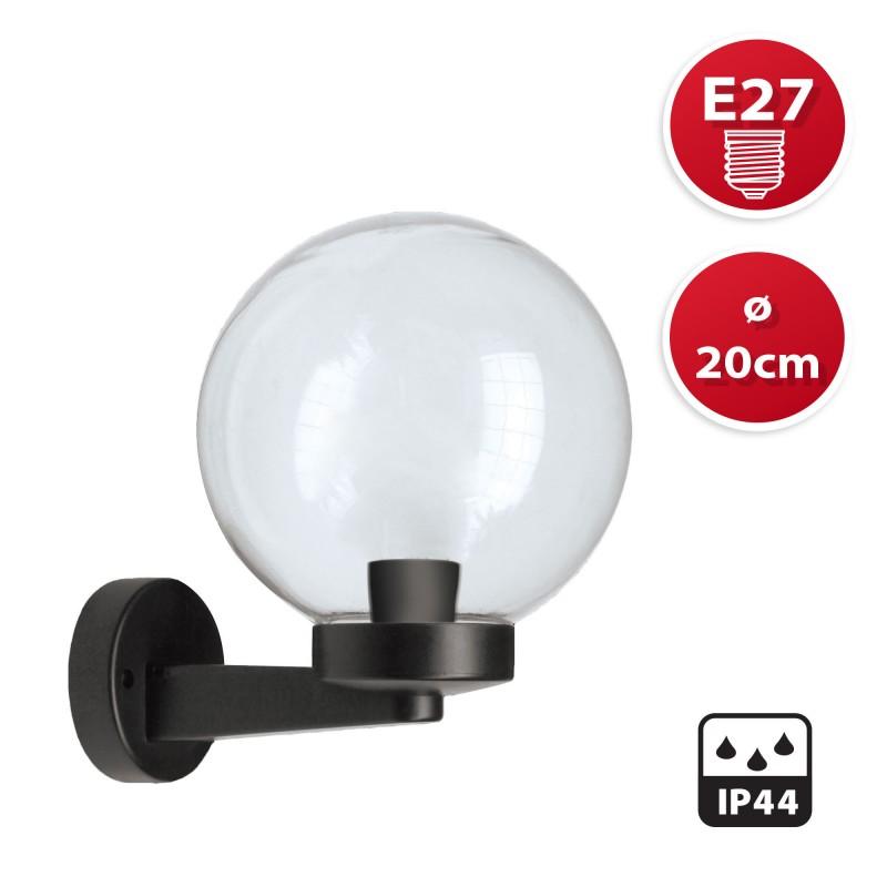 Applique con sfera per esterno in PMMA, 200mm, Attacco E27, trasparente SPH206P Sfere trasparenti apolux Velamp