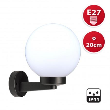 Applique con sfera per esterno in PMMA, 200mm, Attacco E27, bianco SPH202P Sfere bianche apolux Velamp