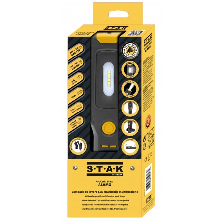 ALAMO: Worklight + torcia ricaricabile LED con ganci e calamita. Base orientabile. ST472 Torce Led Stak