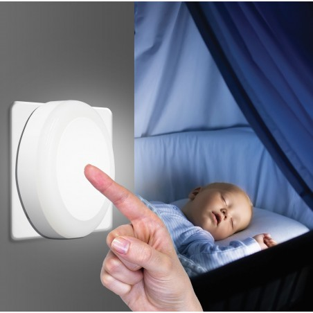 "TOUCH LED: LED light point with ""TOUCH"" ON / OFF switch. White IL28 Velamp Nightlights"