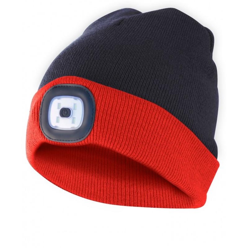 FARO: gorra con luz frontal LED recargable. Negro rojo CAP15 Velamp Linternas LED