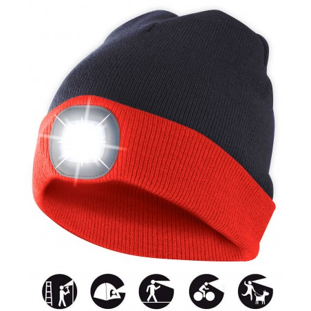 LIGHTHOUSE: cappellino con luce frontale LED ricaricabile. Rossonero CAP15 Torce LED Velamp