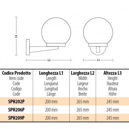 Applique con sfera per esterno in PMMA, 200mm, E27, fumé SPH209P Sfere ambrate apolux Velamp