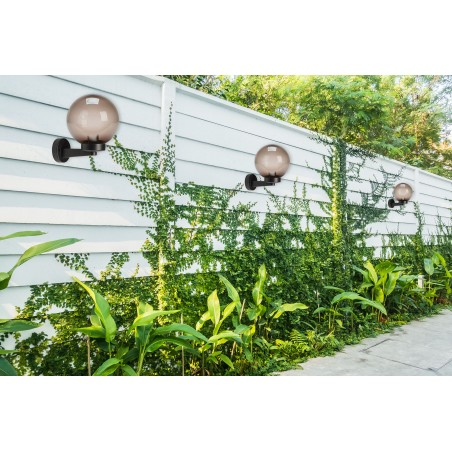 Wall lamp with sphere for outdoor in PMMA, 200mm, E27 fitting, smoked SPH209P Velamp APOLUX amber globes