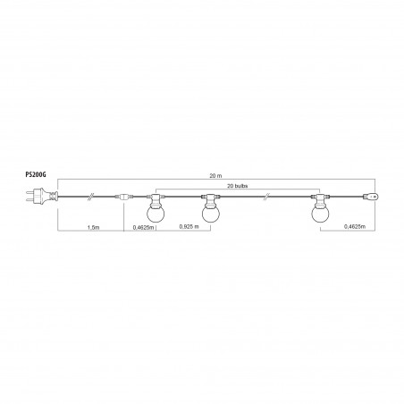 PARTY LIGHT: IP44 catenary extendable 20m, 20 E27 connections, H05RN-F2x1mm2, dark green PS200G Velamp Extendable light chain