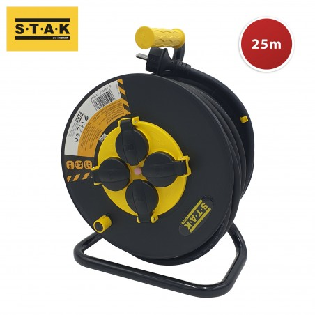 Enrouleur pro, 4 prises, H07RN-F3G2.5MM2, 25M, NF, CE - IP44. REELART-FR-25 Velamp Jobsite cable reels
