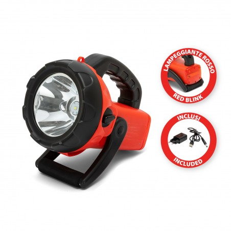 CHURCHILL: 10W rechargeable LED headlight with red flashing light IR561 Velamp Jobsite spotlights