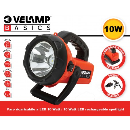 Faro LED ricaricabile 10W con lampeggiante rosso IR561 Fari da lavoro (spotlight) ricaricabili e a pile Velamp