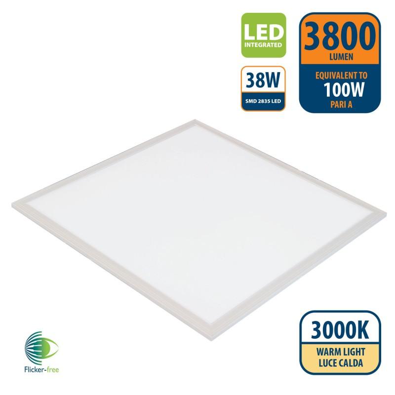 ICEBERG: 60x60 Backlight LED Panel, 3800 lumens, 3000K. White PANLED05-3000K Velamp Indoor lighting