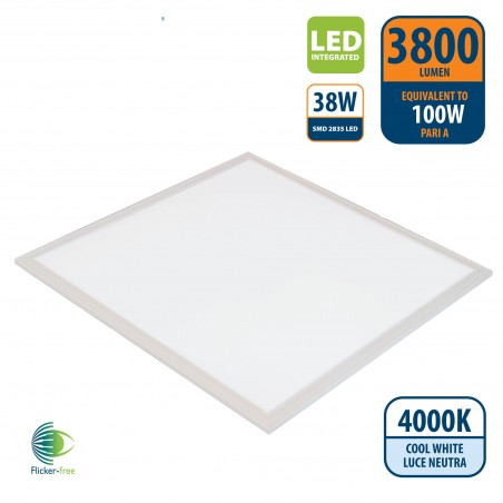 ICEBERG: LED-Panel mit 60 x 60 Hintergrundbeleuchtung, 3800 Lumen, 4000 K. Weiß PANLED05-4000K LED-Panels Velamp