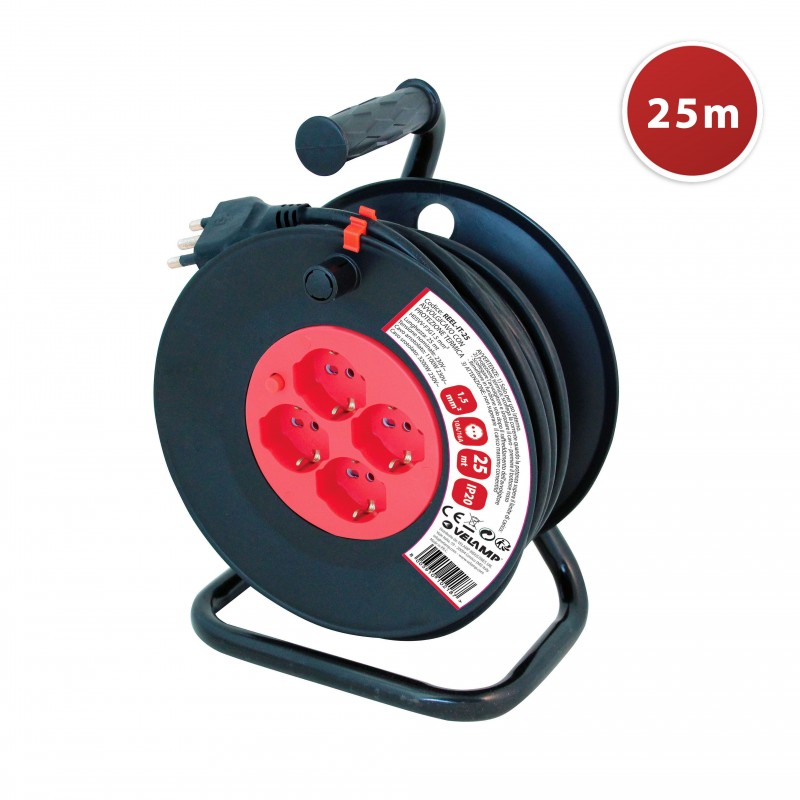 Italian standard electric reel, 4 plugs, cable H05VV-F3G1.5MM2, 25m, CE REEL-IT-25 Velamp Italy cable reels